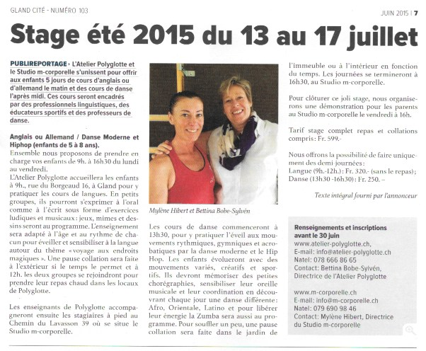 Publireportage Gland Cité – Juin 2015